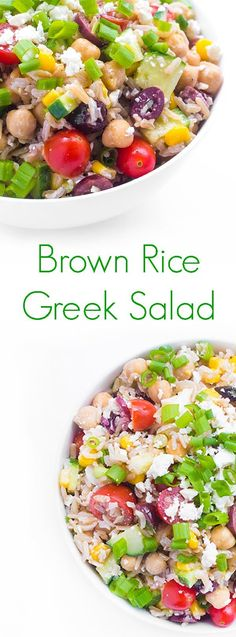 Brown rice is given a Greek twist with roasted cherry tomatoes, crunchy cucumbers, creamy feta and kalamata olives.