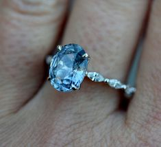 Blake Lively ring Blue Sapphire Engagement Ring Oval Engagement Ring One of a kind ring Sapphire Oval Engagement ring by Eidelprecious