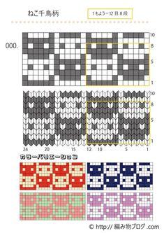 Fair Isle Knitting Patterns, Knitting Charts, Easy Knitting, Knitting Stitches, Crochet Blocks, Crochet Chart, Crochet Patterns, Pixel Pattern, Cat Pattern