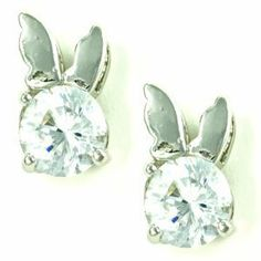 Small Cute White Cubic Zirconia Bunny Stud Earrings le Jane. $17.00. Save 39% Off!