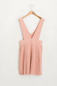 Deep V Neckline Pleated Dress, Pink