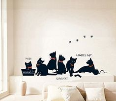 ORDERIN Christmas Gift Wall Stickers I Love Cat Lovely Black Cat Family Cat Removable Mural Wall Decal Art for Home Decor * To view further for this item, visit the image link.