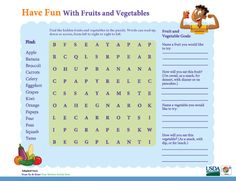 'Have Fun with #Fruits & #Vegetables' in this #MyPlate activity sheet. #kids #games #wordsearch