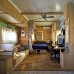Cozy School Bus - House on Wheels — 10 Home, Homes on the Road — beautiful. I love it. Skoolie plush