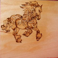 pyrography horse (poly spray added, project done) wood burning