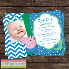Peppa Pig George and Dinosaur Photo Birthday Party Invitation