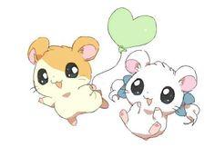Hamtaro and Bijou. Omg I used to be obsessed with Hamtaro!!!