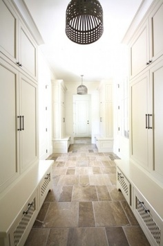 Mud room storage + pendants + tile floors
