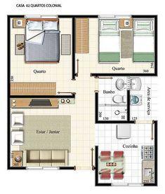 plantas de casas com 2 quartos com cozinha americana12