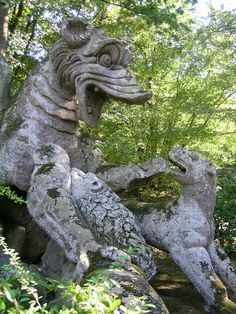 Dragon with Lions The Park of the Monsters, also named Garden of Bomarzo, is a Manieristic monumental complex located in Bomarzo, in the province of Viterbo, in northern Lazio, Italy.