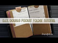 DIY Double Pocket Folder for Pocket Size Midori/Fauxdori Style Traveler's Notebook - YouTube