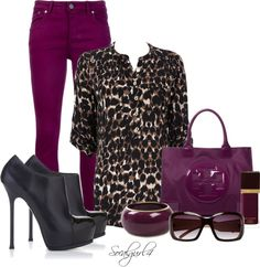 """""""Plum & Leopard"""" by socalgurl4 on Polyvore.... This is a Great idea for my plum skinny's :)"""