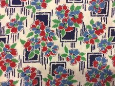 Love these Art Deco styles. Feedsack Flowers And Squares Print 100% Cotton Vintage 1930s Blue Red Green #Feedsack