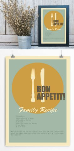 Bon Appetit! Funny family recipe. I can put your favorite recipe on this print. Just note me your favorite recipe. Or you can order this print as is. From $17 + FREE SHIPPING WORLDWIDE from U.S.