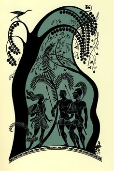Venus, his mother, came before Aeneas in the guise of a pretty young girl, bearing arms.  N. B. Taylor, The Aeneid of Virgil, illus. Kiddell-Monroe ( London: Oxford University Press, 1961).