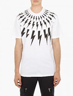Neil Barrett White Lightning Bolt T-Shirt The Neil Barrett Lightning Bolt T-Shirt for AW16, seen here in white. - - Featuring the designer™s signature lightning bolt motif to the chest and shoulders, this t-shirt from Neil Barrett is crafted  http://www.MightGet.com/january-2017-13/neil-barrett-white-lightning-bolt-t-shirt.asp