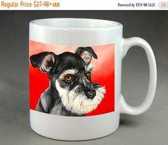 Schnauzer Dog Mug Coffee Tea Cocoa Ceramic cup of by RMBArtStudio