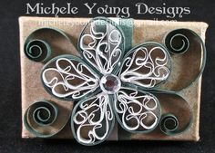 Tiny gift box with green and silver quilled flower by MicheleYoungDesigns, $3.00