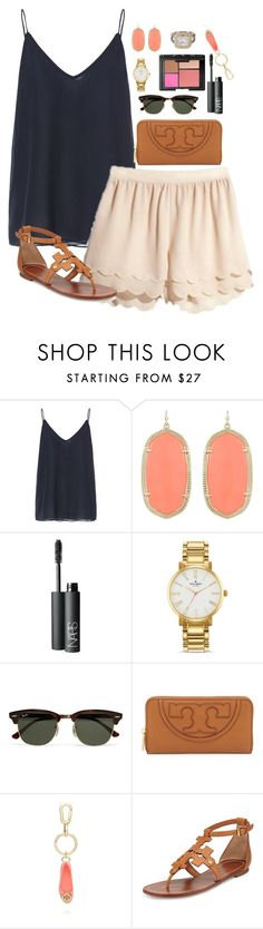 """""""scallops and tory"""" by thegingerprep ❤ liked on Polyvore featuring Zara, Kendra Scott, NARS Cosmetics, Kate Spade, Ray-Ban and Tory Burch"""