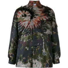 Valentino oversized tie-dye jacket (127 175 UAH) ❤ liked on Polyvore featuring outerwear, jackets, multicolour, multi colored jacket, colorful jackets, oversized jacket, tie dye jacket and metallic jacket