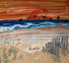 Fiber Art Quilts-Beachscape  http://home.roadrunner.com/~eileenquilts/JustBeachy.htm