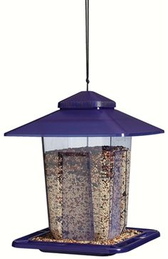 Praire Style Basics Bird Feeder. Contemporary, square style featuring large roof overhang and extra large seed capacity. Has a lift top lid for easy filling. Hanging Cord included, or pole mount on 3/4 in pole (not included). Holds approximately 5 lbs of seed. #birdfeeder