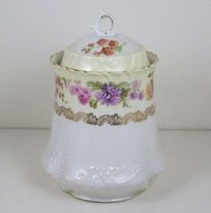 Vintage Antique Ct Tielsch Biscuit Cracker Jar Heavily Embossed Painted Accents