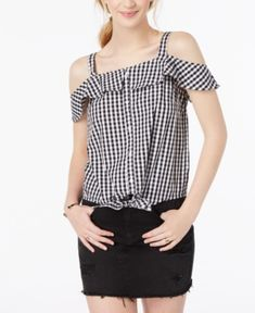 f75380b11aca2 Ultra Flirt by Ikeddi Juniors  Cotton Cold-Shoulder Gingham Top - Black  White
