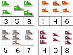 Shoe counting clip cards to go with Pete the Cat-Coyne's Crazy Fun Preschool Classroom