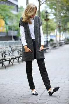 fcbb83ca0a stuart weitzman guything black and white brogues spectators loafers tassel  tassle black slim ankle pants j. brand j brand grey gray wool long sweater  ...