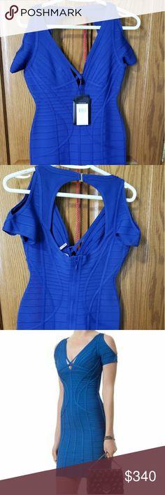 HERVE LEGER DRESS Blue shoulder cutout bandage dress Herve Leger Dresses Mini