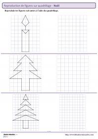 Des figures géométriques sur le thème de noël à reproduire sur quadrillage (du CE1 au CM2)