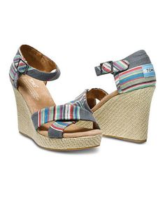 New TOMS Blue Denim Stripe Women's Strappy Wedges. Colorful stripes play well with a denim backdrop, creating a look that will prance you into the warmer months. Back To School Contest Striped Wedges, Striped Sandals, Wedge Sandals, Wedge Shoes, Children In Need, Womens Toms, New Shoes, Women's Shoes, Blue Denim