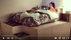 Platform Bed DIY - This video shows you how to turn seven standard SEKTION kitchen cabinets from IKEA into a platform bed with storage underneath.