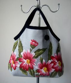 Upcycled vintage tablecloth reversible bag