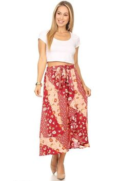 Women/'s New CORAL MULTI Fold Over Popular Fashion Trend Long MAXI Skirt  S~M~L