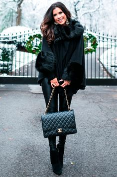 Fashion For Women. Winter outfit. Winter fashion style. H&M turtleneck, Parkhust Black Cape, Lysse Leggings, Jessica Simpsons Booties, J.Crew Earrings, Hypnotic lipstick, Chanel Handbag. Emily Ann Gemma, The Sweetest Thing Blog. #EmilyAnnGemma #TheSweetestThingBlog #FashionStyle #WomenFashion