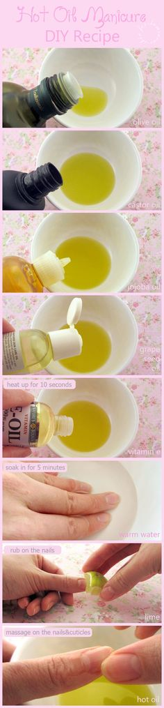 Hot Oil Manicure for winter, dry, brittle nails and DIY recipe