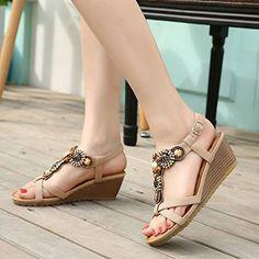 KemeKiss Womens Summer Bohemian Beaded Comfort Soft Bottom Side Buckle Thong Wedge Sandals: Amazon.ca: Chaussures et sacs à main