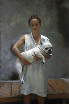 Rafel Bestard, 'Woman with dog', 2016, Oil on canvas, 57 9/10 × 38 1/5 in
