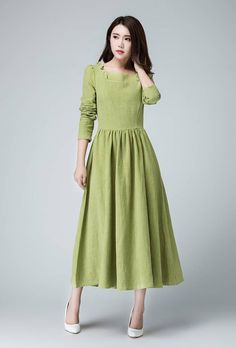 09be38b5fdb Sage dress maxi dress long dress linen dress ruffle dress Sage Green Dress
