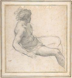 Study of a Seated Youth for the Age of Gold 1596-1669  Pietro da Cortona (Pietro Berrettini)