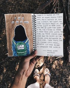 — the faces with facades // Noor Unnahar writing journal entry # 50 (read the full entry here: https://www.instagram.com/p/BMgxPNeBoOx/)  // words, quotes, journal, art journal, journaling, inspiration, notebook, tumblr grunge aesthetics, scrapbooking, creative photography, writers artists //