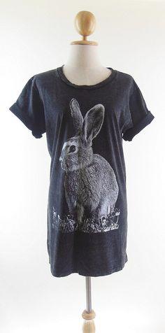 Rabbit TShirt Bunny TShirt  Bleach Shirt Black Shirt by panoTshirt, $19.50