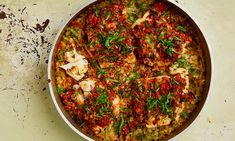 Yotam Ottolenghi's cod marinated in pepper and pumpkin seed salsa.