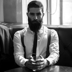 Chris John Millington - full thick dark beard and mustache beards bearded man men mens' style suit tie suspenders dapper fashion clothing model hairstyle hair cut grooming barber handsome #beardsforever