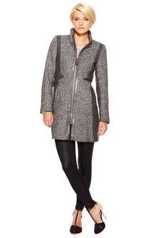 Mixed Media Contrast Funnel Neck Coat Fitted tweed coat; Funnel neck and lightly padded shoulders; Zippered front with tassel pulley; Solid panel details flatter at sides; Faux leather details featured at front and waist; Zippered cuffs and side pockets; Fully lined Women #Outerwear