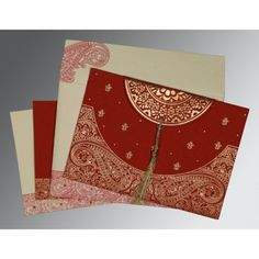 Give your wedding a special feel with our exclusive Red, Handmade Cotton Paper, Hindu Wedding Cards - W-8234L