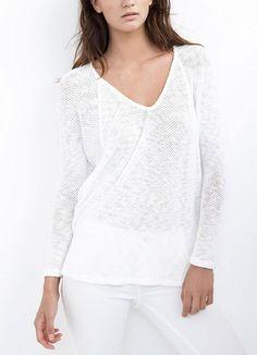 Klara White Crochet Sweater from Velvet at Art Effect