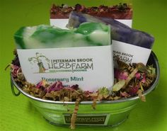 Cottontail gift set - pretty Easter colors www.petermanbrookherbfarm.com Easter Colors, Gift Baskets, Herbalism, Mint, Soap, Pretty, Sympathy Gift Baskets, Herbal Medicine, Bar Soap
